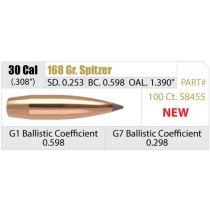 NOSLER 30 (.308) 168gr SP BULLET AccuBond-LR 100/bx