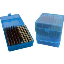 MTM RIFLE FLIP-TOP 100rd 22250-308/CLEAR-BLUE