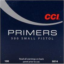 CCI PRIMER 500 SMALL PISTOL 100/bx